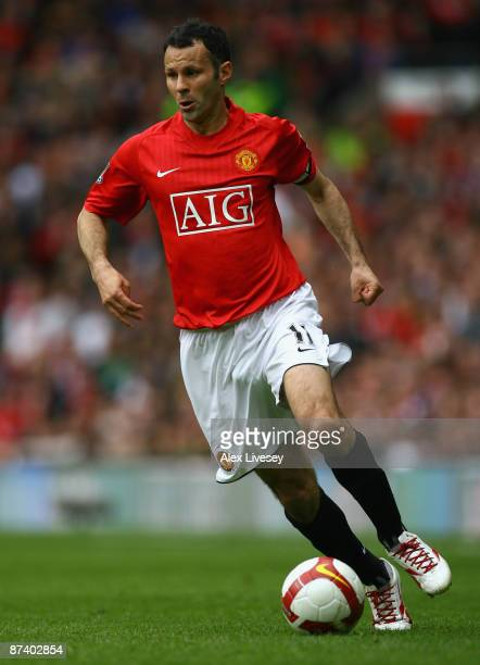 Ryan Giggs of Manchester United in action during the Barclays Premier League match between Manchester United and Arsenal at Old Trafford on May 16...