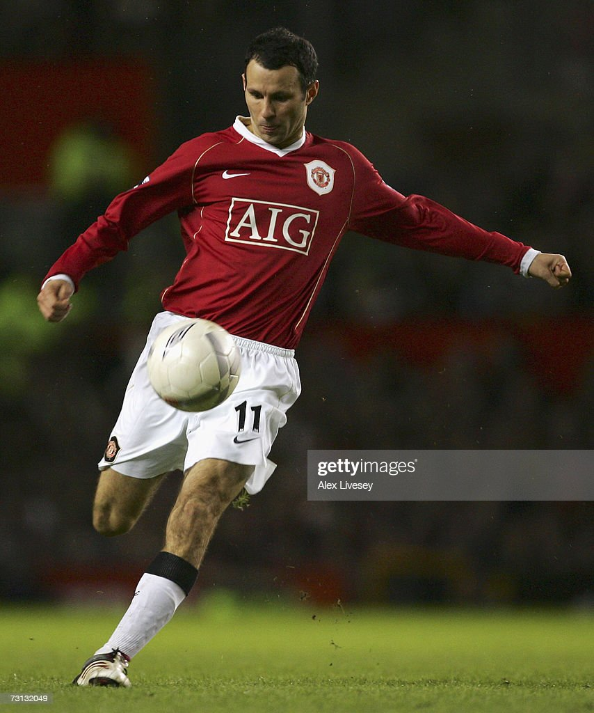 Ryan Giggs of Manchester United in action during the FA Cup sponsored by E.ON Fourth Round match between Manchester United and Portsmouth at Old Trafford on January 27, 2007 in Manchester, England.