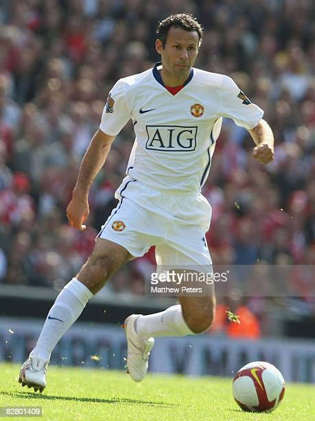 Ryan Giggs of Manchester United in action during the FA Premier League match between Liverpool and Manchester United at Anfield on September 13 2008...