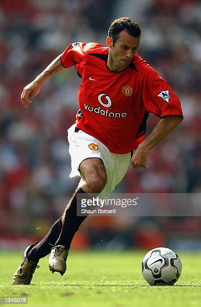 Ryan Giggs of Manchester United in action during the Manchester United v West Bromwich Albion FA Barclaycard Premiership match played at Old Trafford...