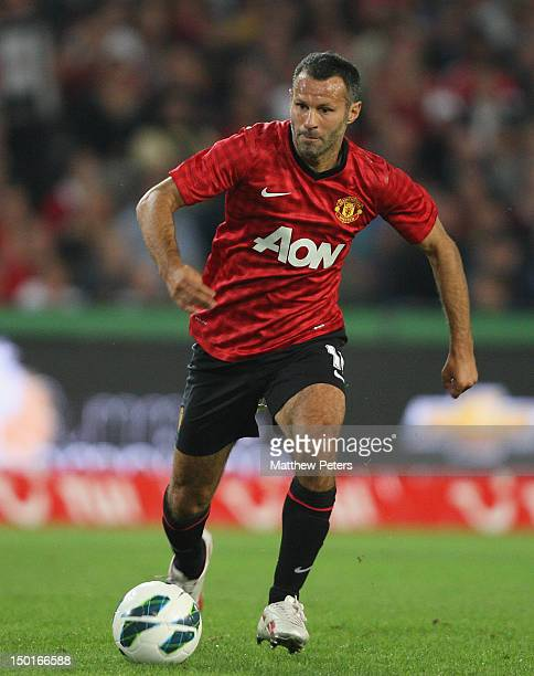 Ryan Giggs of Manchester United in action during the pre-season friendly match between Hannover 96 and Manchester United at AWD Arena on August 11,...
