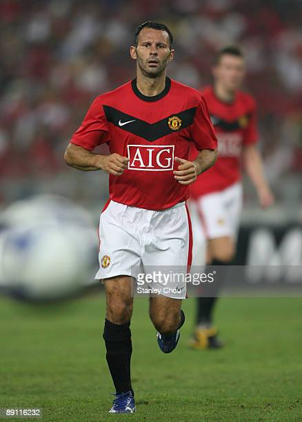 Ryan Giggs of Manchester United in action during the pre-season friendly match between Manchester United and Malaysia XI at Bukit Jalil National...