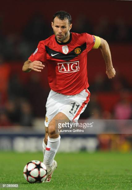 Ryan Giggs of Manchester United in action during the UEFA Champions League Group B match between Manchester United and VfL Wolfsburg at Old Trafford...