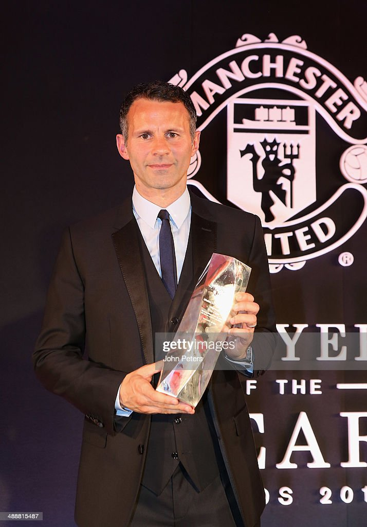 Ryan Giggs of Manchester United is presented with the Lifetime Achievement award at the Manchester United Player of the Year awards at Old Trafford on May 8, 2014 in Manchester, England.