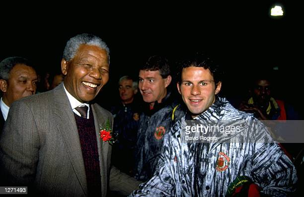 Ryan Giggs of Manchester United meets Nelson Mandela of South Africa Mandatory Credit David Rogers/Allsport