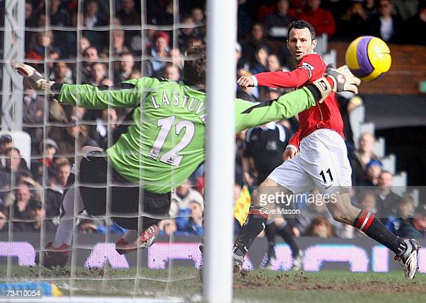 Ryan Giggs of Manchester United scored during the Barclays Premiership match between Fulham and Manchester United at Craven Cottage on February 24...
