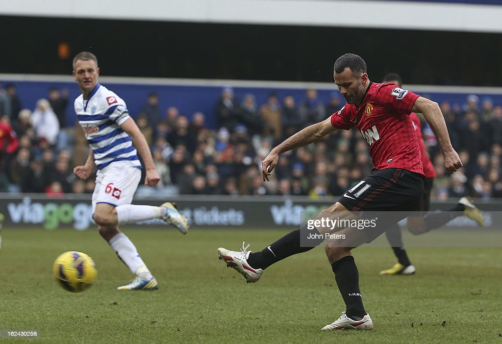 Ryan Giggs of Manchester United scores their second goal during the Barclays Premier League match between Queens Park Rangers and Manchester United at Loftus Road on February 23, 2013 in London, England.