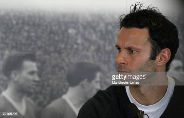 Ryan Giggs of Manchester United speaks during a press conference concerning the 50th anniversary of the Munich Air Disaster at Carrington Training...