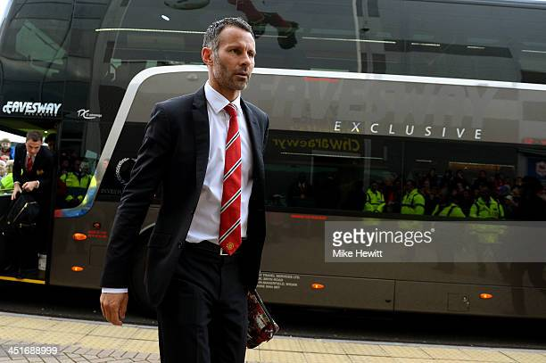 Ryan Giggs of Manchester United steps off the team coach prior to kickoff during the Barclays Premier League match between Cardiff City and...
