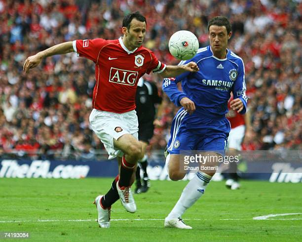 Ryan Giggs of Manchester United takes on Wayne Bridge of Chelsea during the FA Cup Final match sponsored by EON between Manchester United and Chelsea...