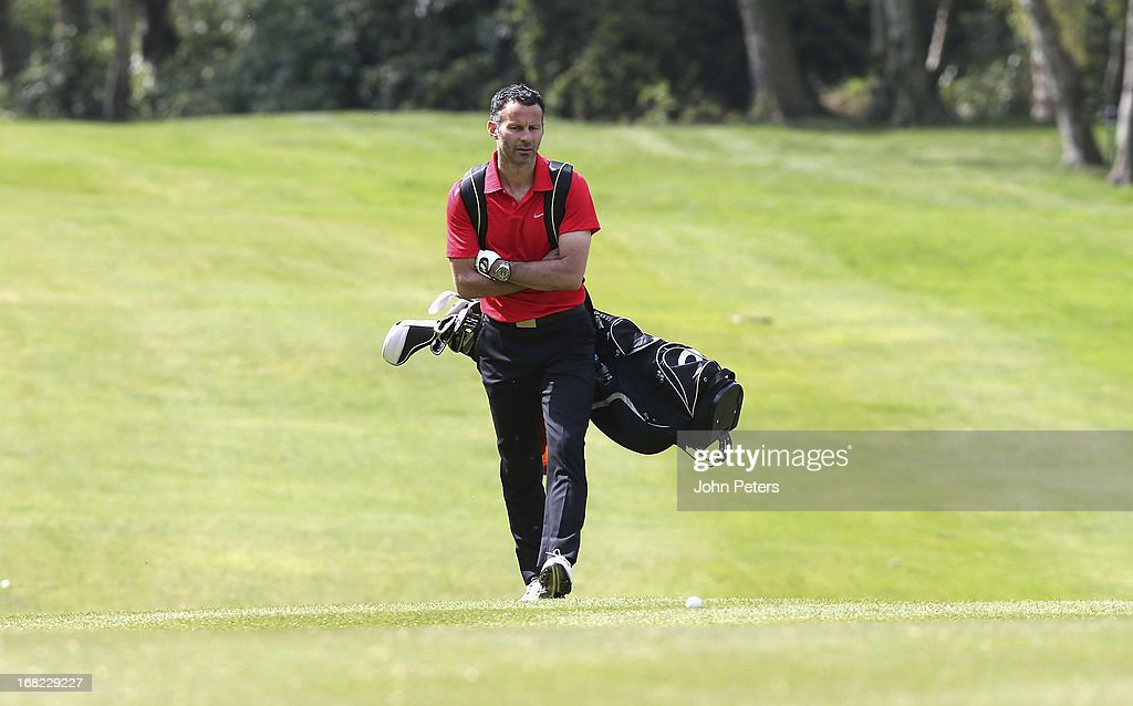 Ryan Giggs of Manchester United takes part in a Players v Coaching Staff golf match at Dunham Massey Golf Club on May 7, 2013 in Manchester, England.