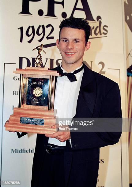 Ryan Giggs of Manchester United with his PFA Young Player of the Year Award in London circa April 1992