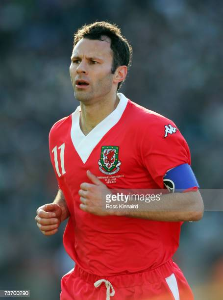 Ryan Giggs of Wales during the Euro2008 Group D Qualifier between the Republic of Ireland and Wales at the Croke Park Stadium on March 24 2007 in...