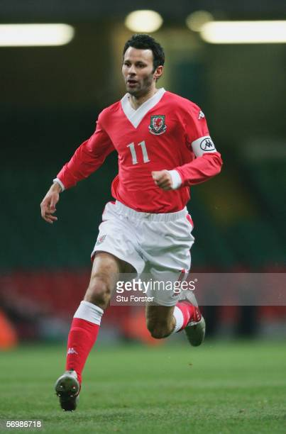 Ryan Giggs of Wales makes a run during the Friendly Match between Wales and Paraguay at the Millennium Stadium on March 1 2006 in Cardiff Wales