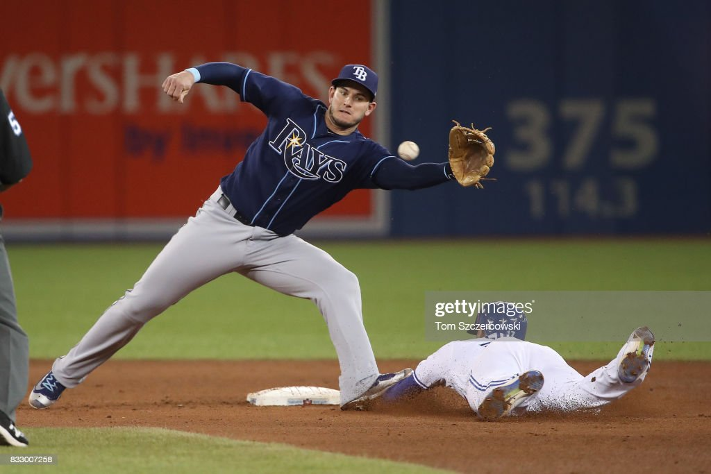 Ryan Goins #17 of the Toronto Blue Jays is caught stealing second base in the sixth inning during MLB game action as Daniel Robertson #29 of the Tampa Bay Rays gets ready to tag him out at Rogers Centre on August 16, 2017 in Toronto, Canada.