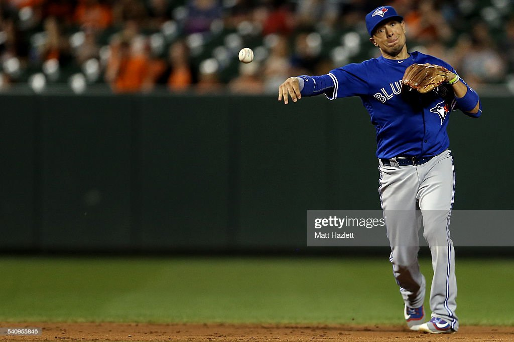 Ryan Goins #17 of the Toronto Blue Jays makes the throw to first base for the first out of the eighth inning against the Baltimore Orioles at Oriole Park at Camden Yards on June 17, 2016 in Baltimore, Maryland.