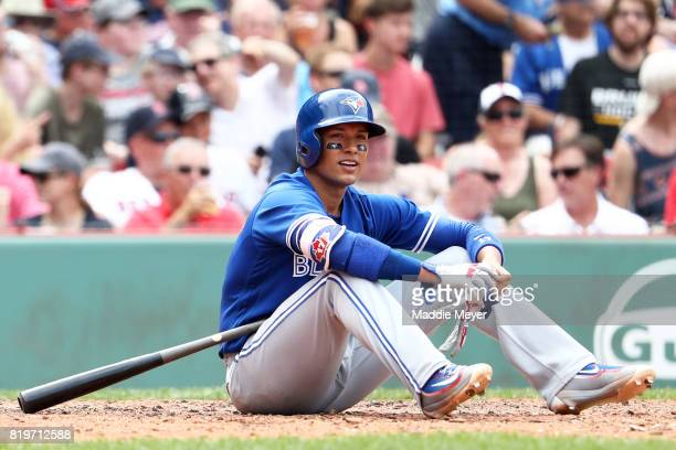 Ryan Goins of the Toronto Blue Jays reacts after striking out during the fifth inning against the Toronto Blue Jays at Fenway Park on July 20 2017 in...