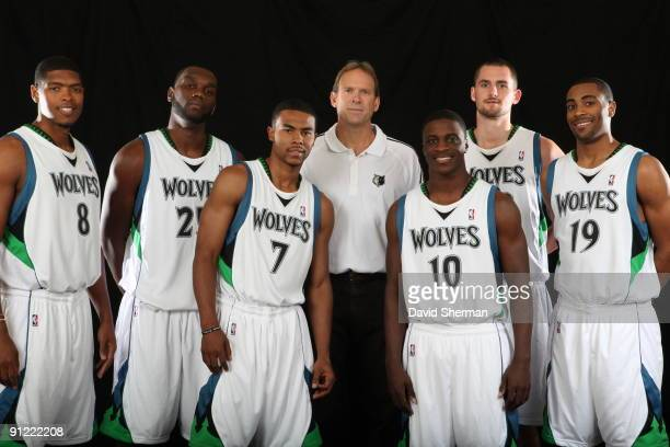 Ryan Gomes Al Jefferson Ramon Sessions Head Coach Kurt Rambis Jonny Flynn Kevin Love and Wayne Ellington of the Minnesota Timberwolves poses for a...