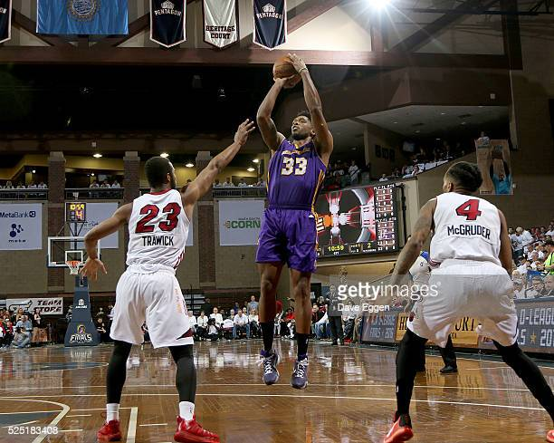 Ryan Gomes from the Los Angeles Defenders spots up for a jumper over Jabril Trawick from the Sioux Falls Skyforce during the NBA DLeague Finals Game...