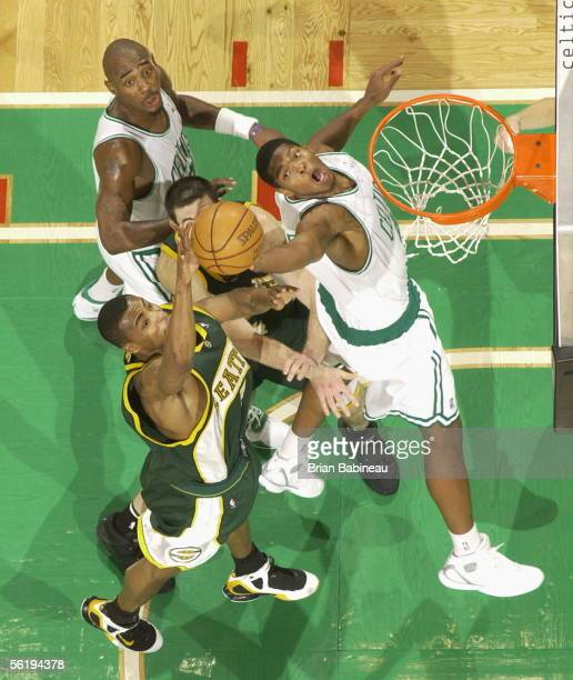 Ryan Gomes of the Boston Celtics goes to the hoop against the Seattle SuperSonics November 16 2005 at the TD Banknorth Garden in Boston Massachusetts...