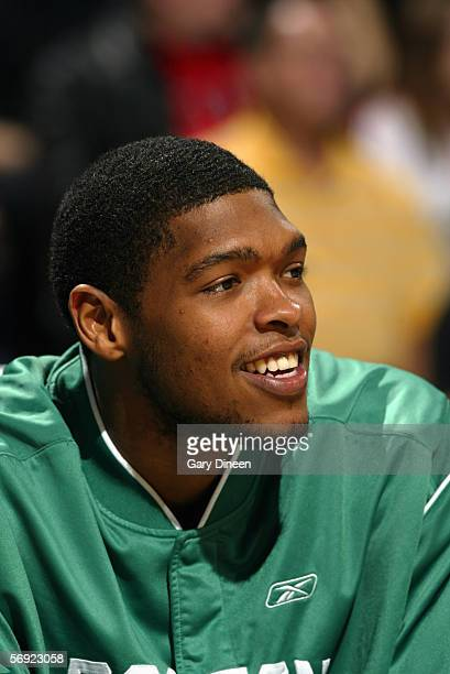 Ryan Gomes of the Boston Celtics watches the action from the bench during a game against the Milwaukee Bucks at the Bradley Center on January 29 2006...