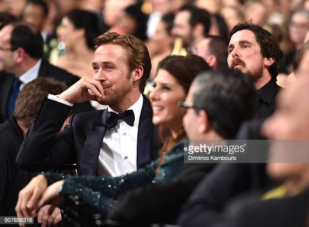 Ryan Goslin Marisa Tomei and Christian Bale during The 22nd Annual Screen Actors Guild Awards at The Shrine Auditorium on January 30 2016 in Los...