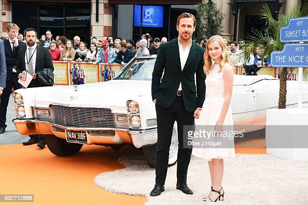 Ryan Gosling and Angourie Rice attend the 'The Nice Guys' UK Premiere at Odeon Leicester Square on May 19 2016 in London England
