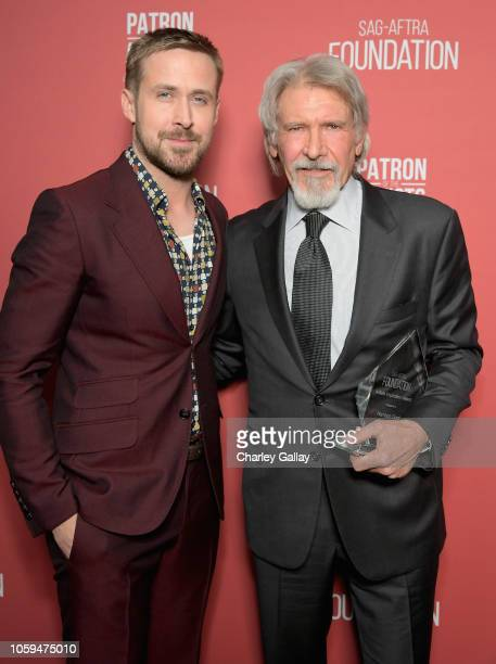 Ryan Gosling and Artists Inspiration Award recipient Harrison Ford attend the SAGAFTRA Foundation's 3rd Annual Patron of the Artists Awards at the...
