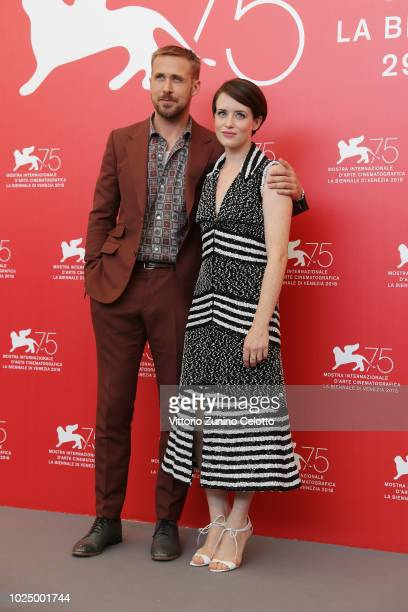 Ryan Gosling and Claire Foy attends 'First Man' photocall during the 75th Venice Film Festival at Sala Casino on August 29 2018 in Venice Italy