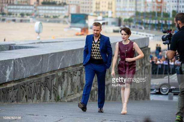 Ryan Gosling and Claire Foy attends the 'First Man' photocall during the 66th San Sebastian International Film Festival on September 24 2018 in San...