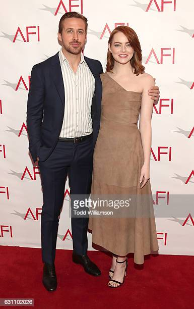 Ryan Gosling and Emma Stone attend the 17th Annual AFI Awards at Four Seasons Hotel Los Angeles at Beverly Hills on January 6 2017 in Los Angeles...