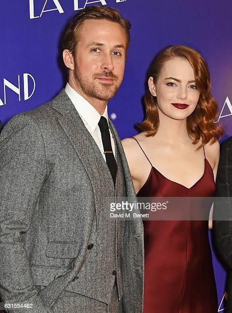 Ryan Gosling and Emma Stone attend the 'La La Land' Gala Screening at The Ham Yard Hotel on January 12 2017 in London England