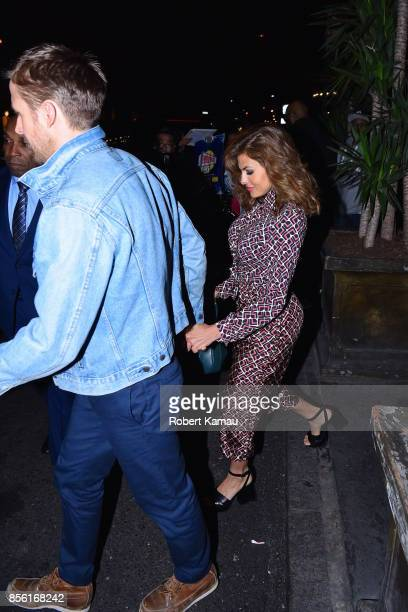Ryan Gosling and Eva Mendes seen at Tao Restaurant for SNL after party on September 30 2017 in New York City