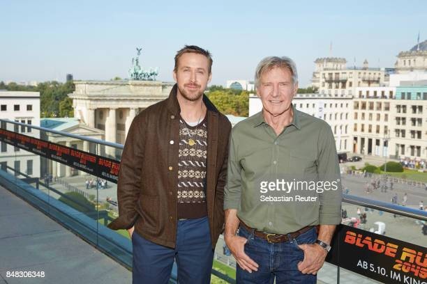 Ryan Gosling and Harrison Ford pose for the 'Blade Runner 2049' photo call at Akademie der Kuenste on September 17 2017 in Berlin Germany