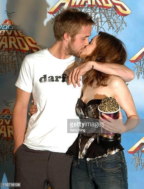 Ryan Gosling and Rachel McAdams during 2005 MTV Movie Awards Press Room at Shrine Auditorium in Los Angeles California United States