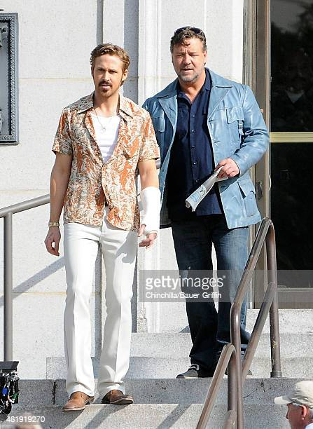 Ryan Gosling and Russell Crowe are seen filming 'The Nice Guys' on January 21 2015 in Los Angeles California