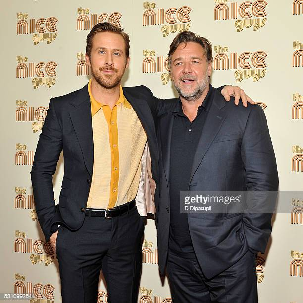 Ryan Gosling and Russell Crowe attend The Nice Guys New York screening at Metrograph on May 12 2016 in New York City