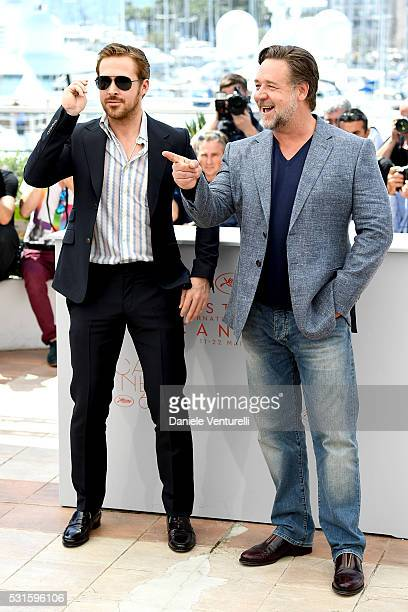 Ryan Gosling and Russell Crowe attend 'The Nice Guys' photocall during the 69th annual Cannes Film Festival at the Palais des Festivals on May 15...