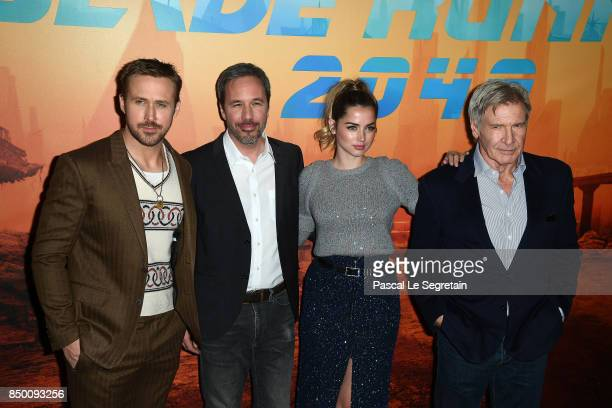 Ryan Gosling Devis Villeneuve Ana De Armas and Harrison Ford attend the Blade runner 2049 photocall at Hotel Le Bristol on September 20 2017 in Paris...