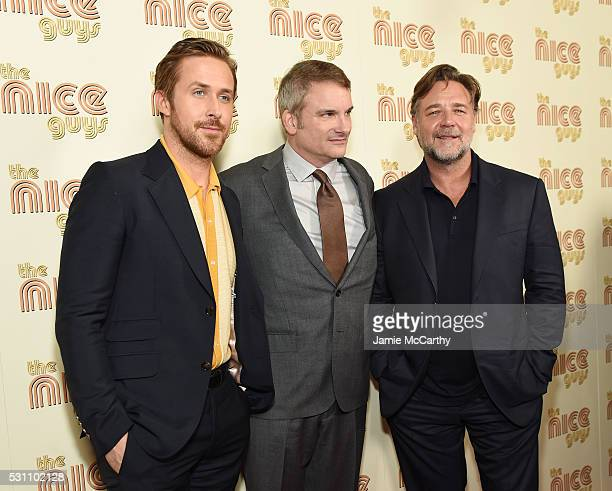 Ryan Gosling Director Shane Black and Russell Crowe attend The Nice Guys New York Screening at Metrograph on May 12 2016 in New York City