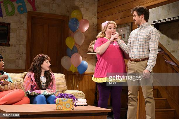 LIVE 'Ryan Gosling' Episode 1690 Pictured Vanessa Bayer Aidy Bryant as Melanie and Ryan Gosling during the 'Birthday Party' sketch on December 5 2015