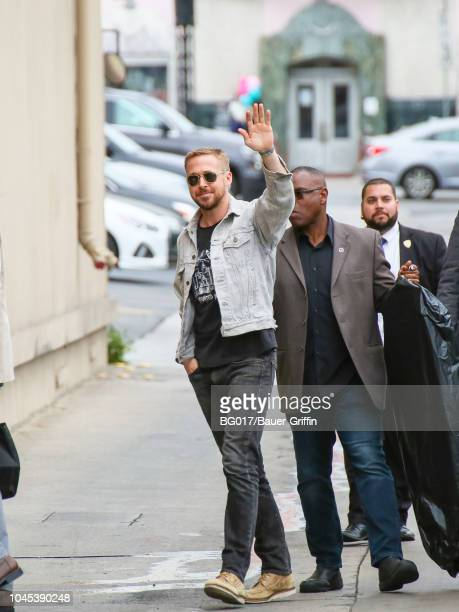 Ryan Gosling is seen arriving at 'Jimmy Kimmel Live' on October 03 2018 in Los Angeles California