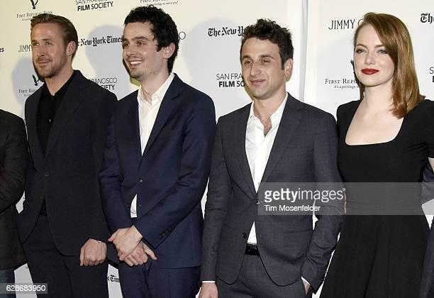Ryan Gosling Justin Hurwitz Damien Chazelle and Emma Stone attend the SF Film Society presents SF Honors La La Landat the Castro Theatre on December...