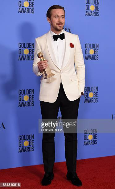 Ryan Gosling poses with his award for best actor in a musical or comedy for his role in 'La La Land' in the press room during the 74th Annual Golden...