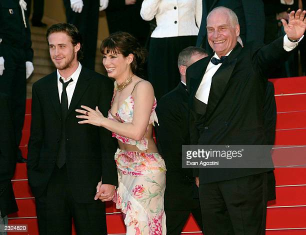 Ryan Gosling Sandra Bullock and Director Barbet Schroeder on the Palais steps at the 'Murder By Numbers' screening during the 55th Cannes Film...