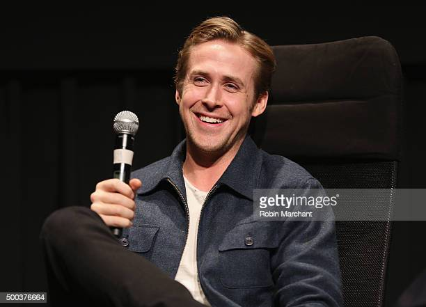 Ryan Gosling speaks during an official Academy screening of 'The Big Short' hosted by The Academy of Motion Picture Arts and Sciences on December 7...