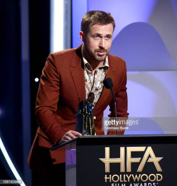Ryan Gosling speaks onstage during the 22nd Annual Hollywood Film Awards at The Beverly Hilton Hotel on November 4 2018 in Beverly Hills California