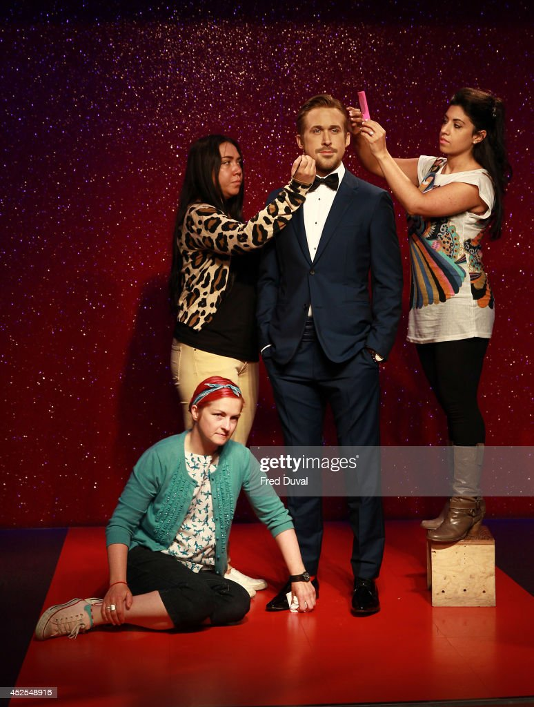 Ryan Gosling wax likeness is given a finishing touch-up as Madame Tussauds unveil their new Ryan Gosling wax figure at Madame Tussauds on July 23, 2014 in London, England.