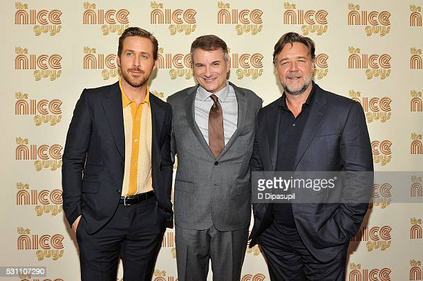 Ryan Gosling writer/director Shane Black and Russell Crowe attend The Nice Guys New York screening at Metrograph on May 12 2016 in New York City