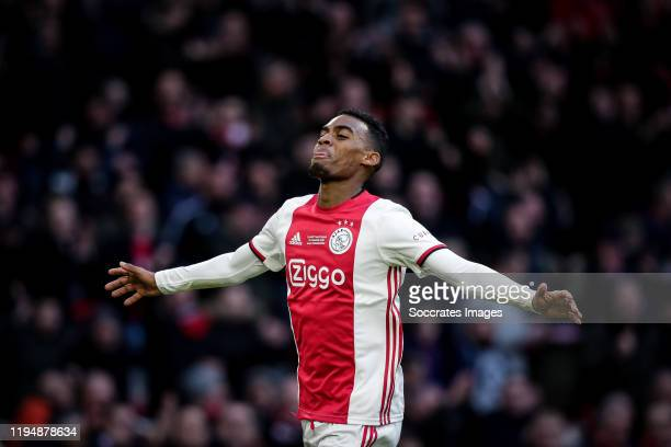 Ryan Gravenberch of Ajax, celebrates his goal during the Dutch Eredivisie match between Ajax v Sparta at the Johan Cruijff Arena on January 19, 2020...